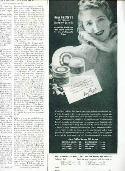 Mary Pickford Beauty Aids 1/2 Page (1939)