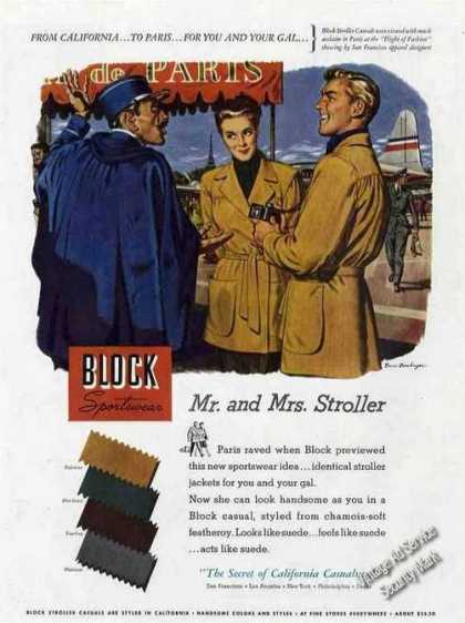 Block Stroller Ad Bruce Bomberger Fashion Art (1948)