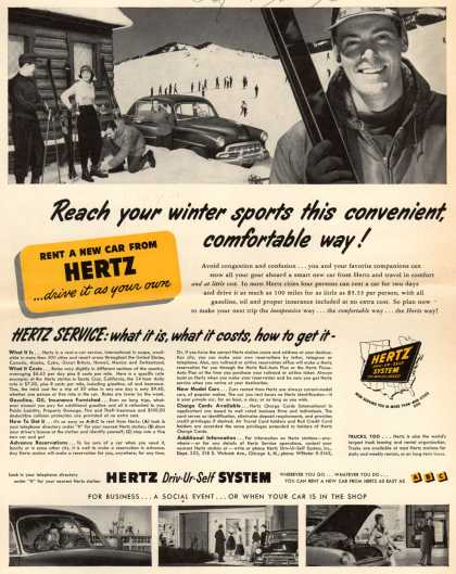 Hertz Driv-Ur-Self System's Hertz – Reach your winter sports this convenient, comfortable way (1953)