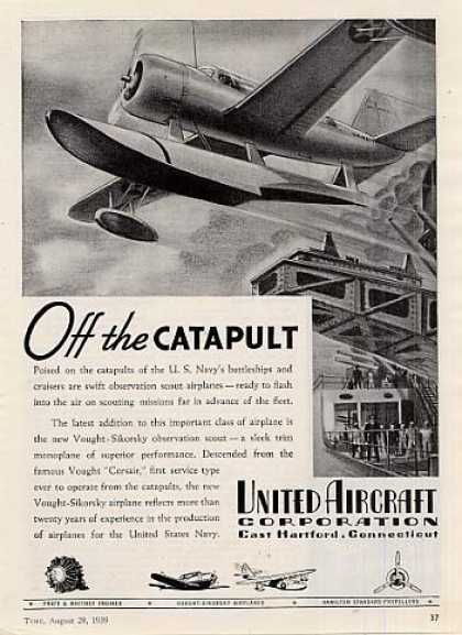 "United Aircraft Ad ""Off the Catapult... (1939)"