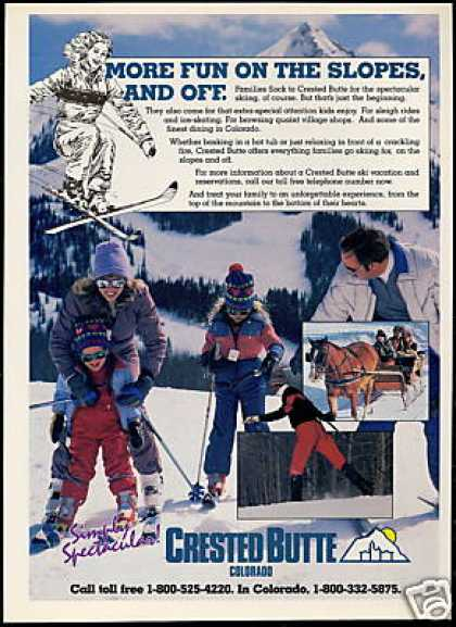 Crested Butte Colorado Snow Ski Skiers Travel (1984)