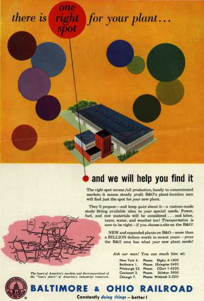 Baltimore & Ohio Railroad's site on B&O – there is one right spot for your plant... (1952)