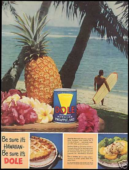 Hawaii Waikiki Surfboard Surfer Dole Pineapple (1952)