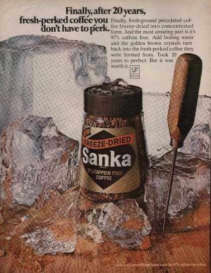 Sanka Freeze Dried Caffein Free Coffee (1969)