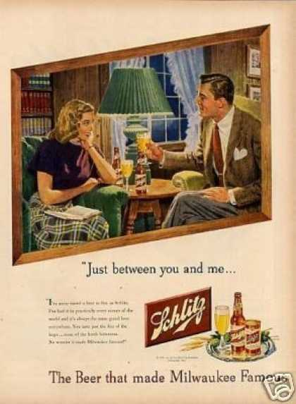 "Schlitz Beer Ad ""Just Between You and Me... (1948)"