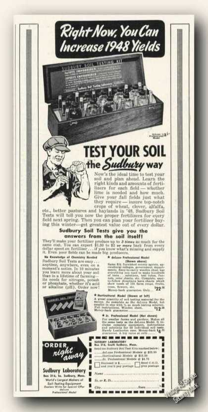 Sudbury Ma Laboratory Test Your Soil Kit (1947)