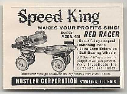 '59 Hustler Speed King Red Racer Roller Skates Trade (1959)