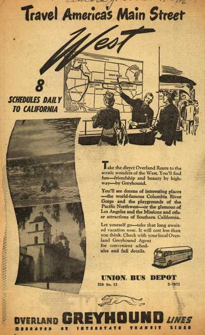 Greyhound's Western United States – Travel America's Main Street West. 8 Schedules Daily To California (1946)