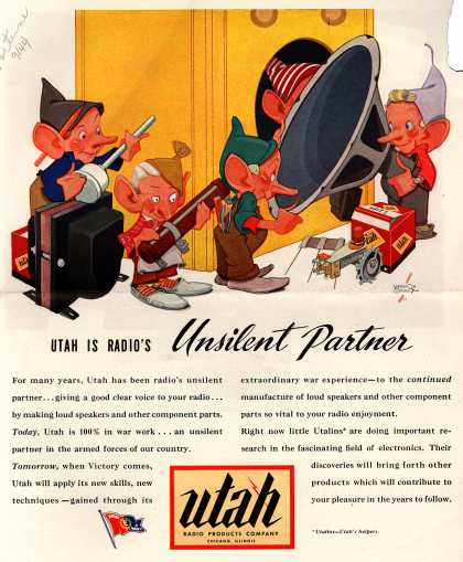 Utah Radio Products Company's Corporate ad – Utah Is Radio's Unsilent Partner (1944)