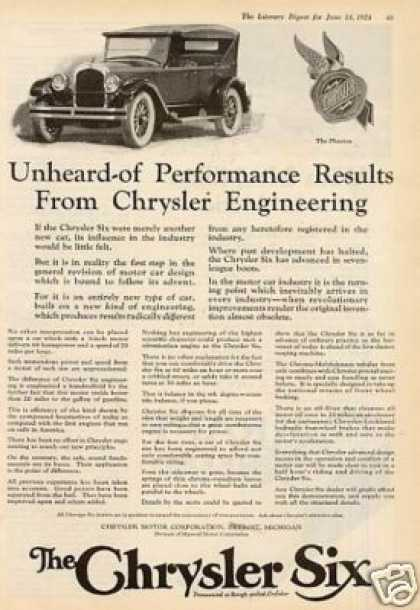 "Chrysler Six Car Ad ""Unheard of Performance... (1924)"
