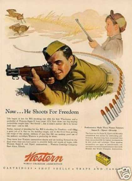"Western Ammunition Ad ""He Shoots for Freedom... (1944)"