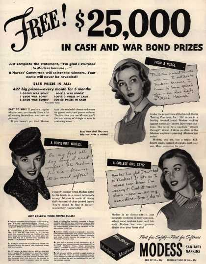 Johnson & Johnson's Modess Sanitary Napkins – Free! $25,000 In Cash And War Bond Prizes (1943)
