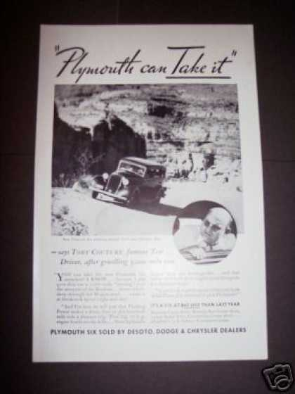 Original Plymouth Car Rockies Test Drive Photo (1933)