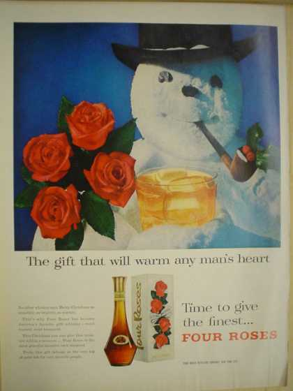 Four roses whiskey Gift will warm any man's heart. Snowman (1956)
