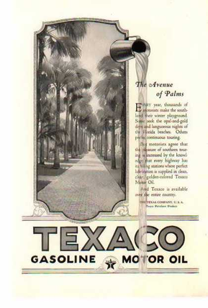 Texaco Gasoline – The Avenue of Palms – Florida (1924)