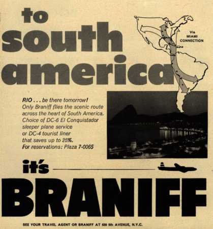 Braniff International Airway's South America – To South America (1952)