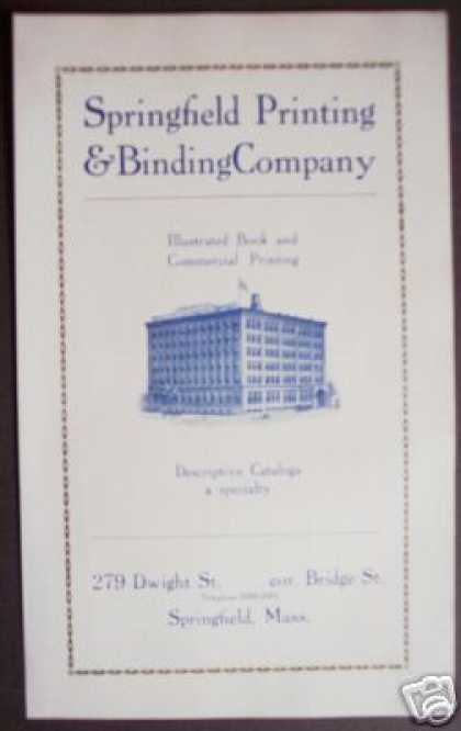 Spingfield Printing & Binding Co. Ma Dwight St (1922)