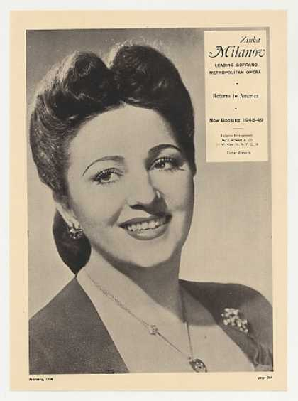 Met Opera Soprano Zinka Milanov Photo Booking (1948)
