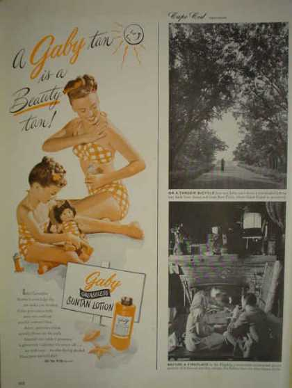 Gaby Greaseless suntan lotion Mother Daughter theme (1947)