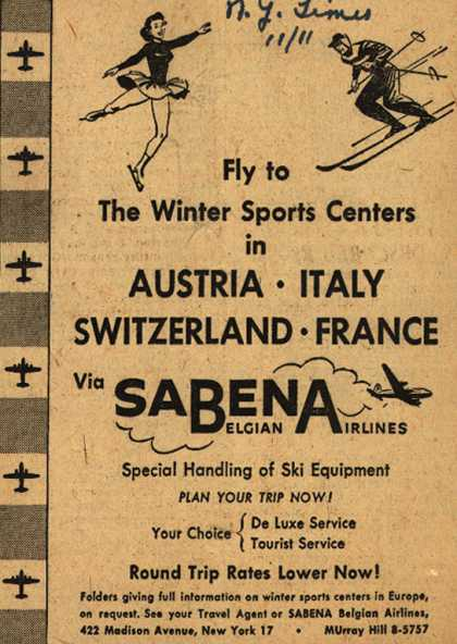 Sabena Belgian Airline's Winter Sports Centers – Fly to The Winter Sports Centers in Austria, Italy, Switzerland, France via Sabena (1952)