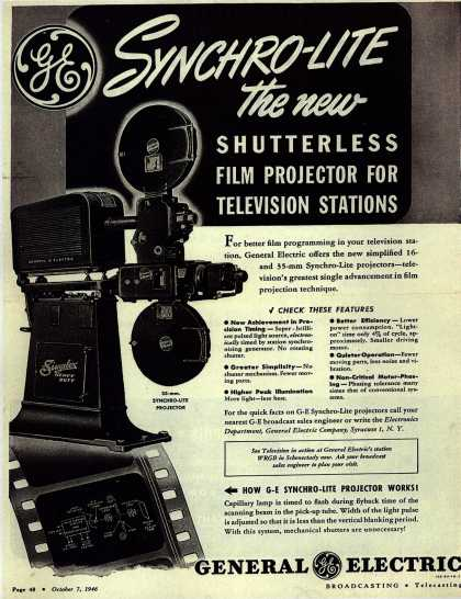 General Electric Company's Film Projector – Synchro-Lite the new Shutterless Film Projector For Television Stations (1946)