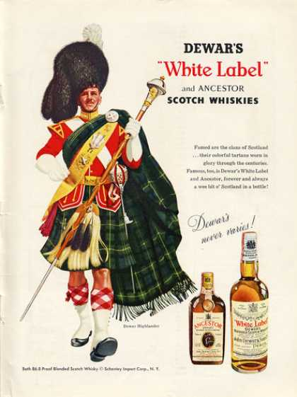 Dewar White Label Scotch Whisky Highlander (1956)