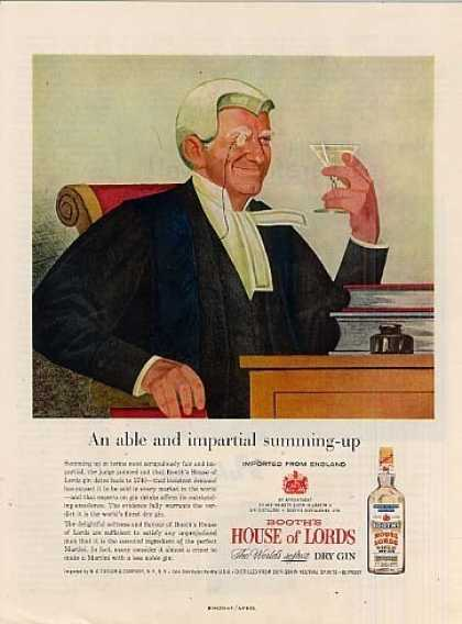 Booth's House of Lords Gin (1958)