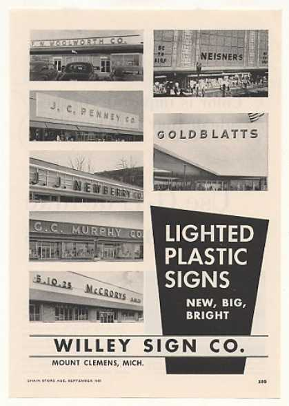 Woolworth Penney Newberry Murphy Willey Sign (1955)