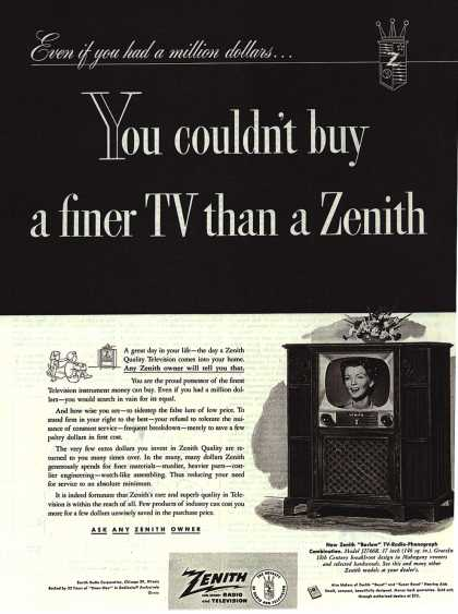 Zenith Radio and Television's Barlow TV-Radio-Phonograph – You couldn't buy a finer TV than a Zenith (1952)