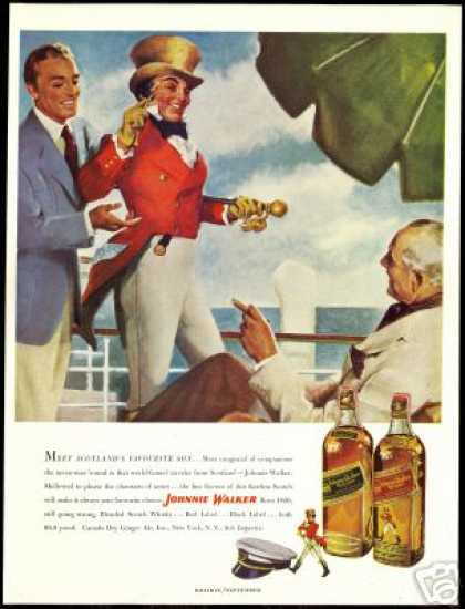 Johnnie Walker Scotch Cruise Ship Vintage Art (1949)
