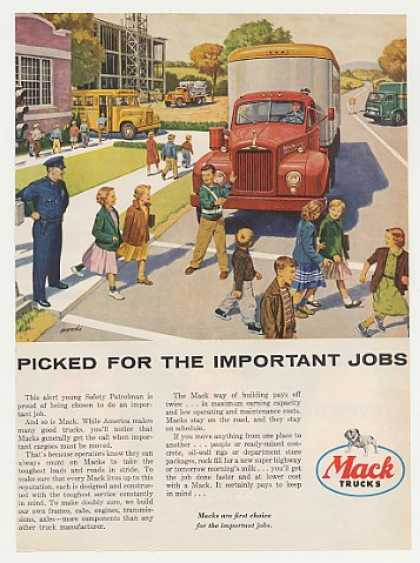 Mack Truck School Safety Patrolman Woodi art (1955)
