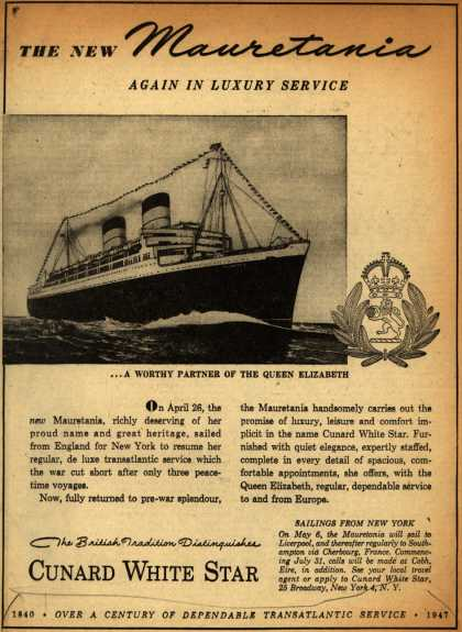 Cunard White Star Line's Mauritania – The New Mauretania Again In Luxury Service (1947)