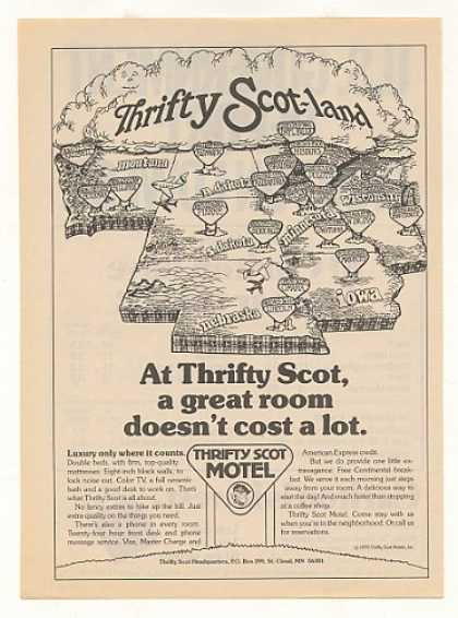 Thrifty Scot Motel Scot-land States Map (1979)
