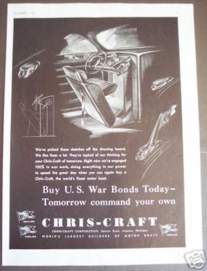 Chris-craft Boat Yacht War Bonds Art (1943)