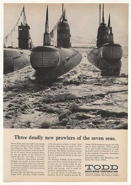 Russian Submarine Fleet Todd Shipyards Photo (1969)