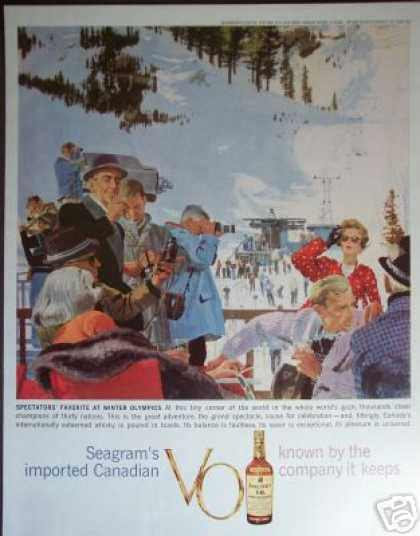 Winter Olympics Ski Scene Seagrams Whisky (1960)