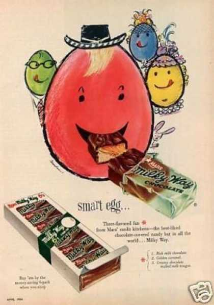 Mars Milky Way Candy Ad &quot;Smart Egg&quot; (1954)