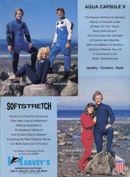 Harvey Skindiving Men Women Scuba Diver Suit (1984)