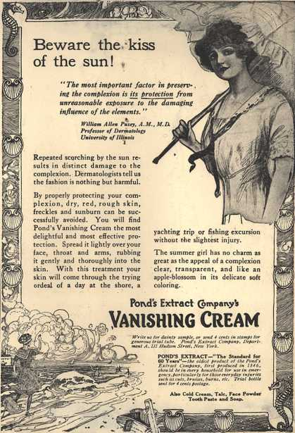 Pond's Extract Co.'s Pond's Vanishing Cream – Beware the kiss of the sun (1912)