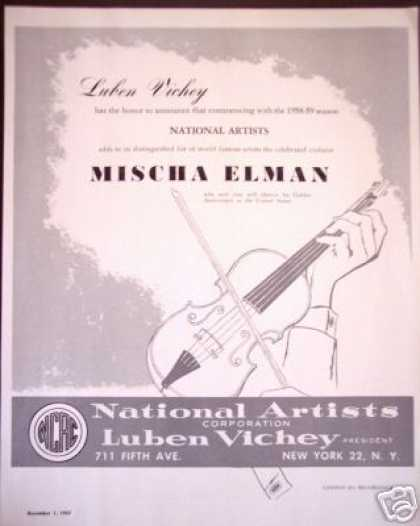 National Artists Mischa Elman Violinist Promo (1957)