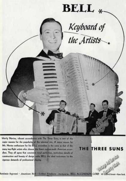 Morty Nevins Photo Rare Bell Accordions (1954)