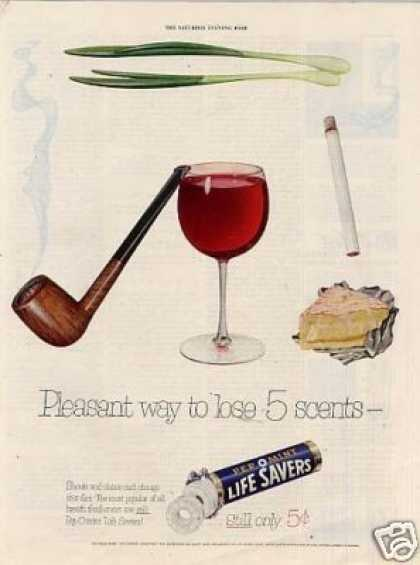 Life Savers Candy Ad &quot;Pleasant Way To Lose... (1953)