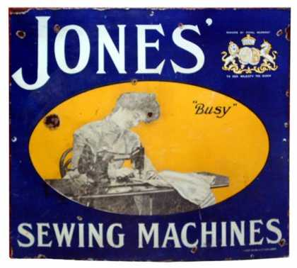 Jones' Sewing Machines Enamel Sign