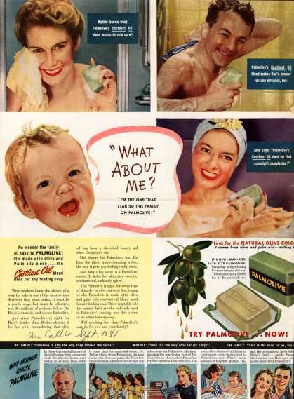 "Palmolive Company's Palmolive Soap – ""What About Me? I'm The One That Started This Family On Palmolive!"" (1941)"