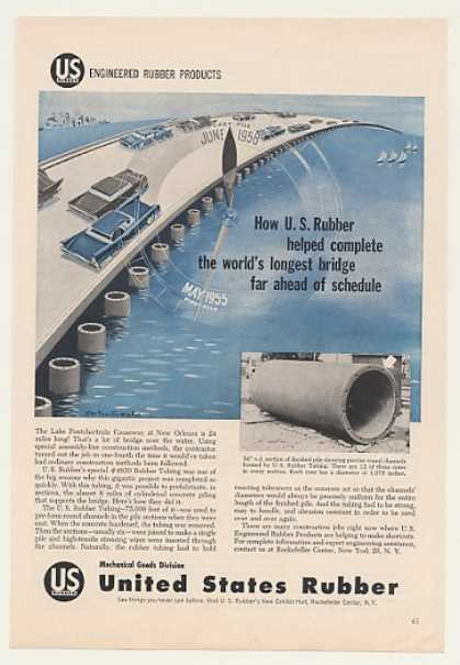 Lake Pontchartrain Bridge New Orleans US Rubber (1958)