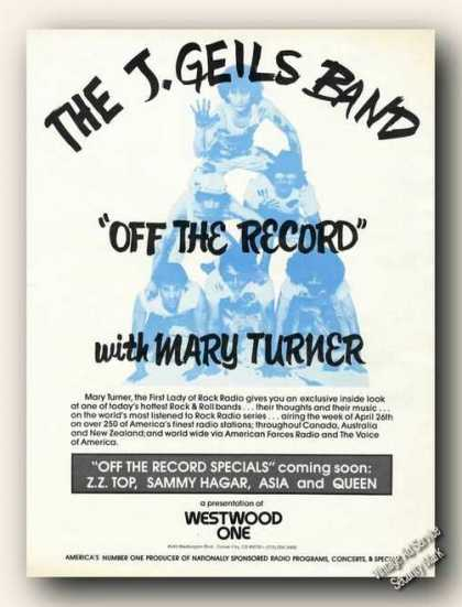 The J. Geils Band Mary Turner Program Promo (1982)