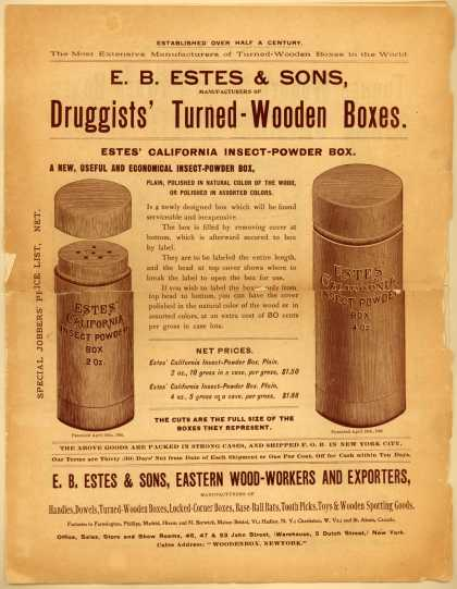 E. B. Estes & Son's Druggists' Turned-Wooden Boxes – Special Jobbers Price List