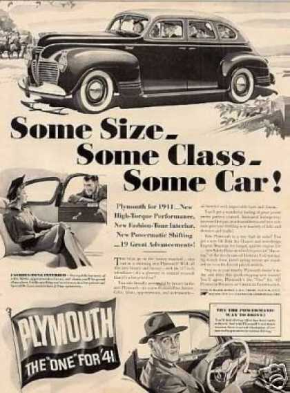 "Plymouth Car Ad ""Some Size... (1941)"