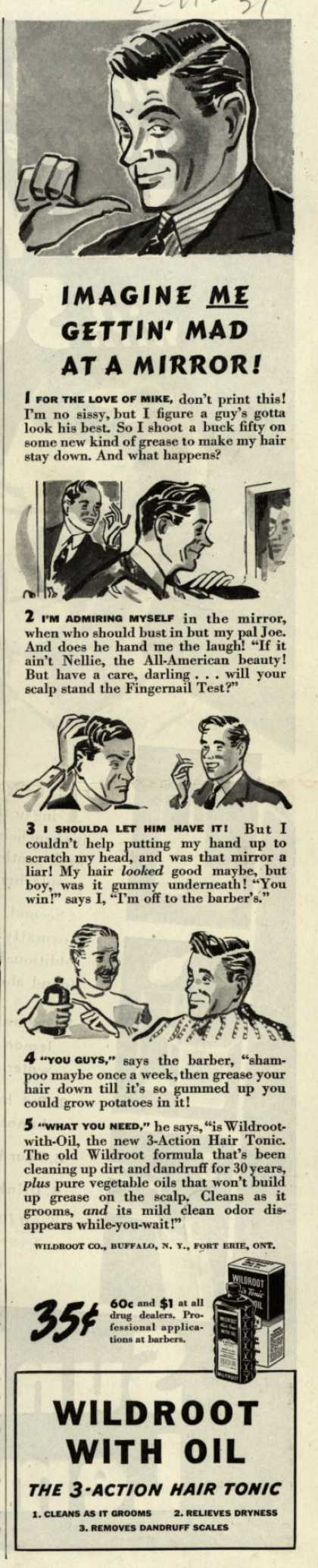 Wildroot Company's Wildroot Hair Tonic – Imagine Me Gettin' Mad At A Mirror (1939)