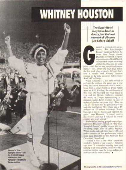 Whitney Houston Magazine Article – Superbowl & Star-Spangled Banner (1991)